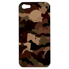 Background For Scrapbooking Or Other Camouflage Patterns Beige And Brown Apple Iphone 5 Hardshell Case by Nexatart