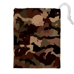 Background For Scrapbooking Or Other Camouflage Patterns Beige And Brown Drawstring Pouches (xxl) by Nexatart