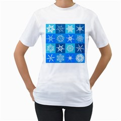 Background Blue Decoration Women s T Shirt (white)
