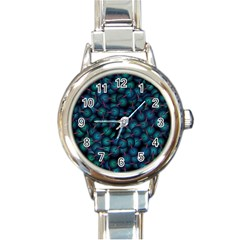 Background Abstract Textile Design Round Italian Charm Watch
