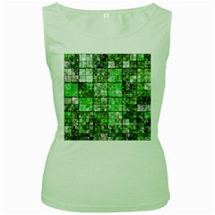 Background Of Green Squares Women s Green Tank Top by Nexatart
