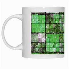 Background Of Green Squares White Mugs by Nexatart