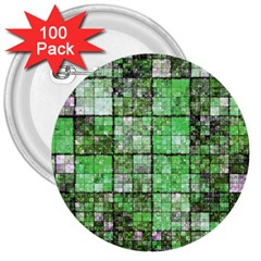 Background Of Green Squares 3  Buttons (100 Pack)
