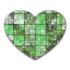 Background Of Green Squares Heart Mousepads by Nexatart