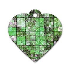 Background Of Green Squares Dog Tag Heart (two Sides) by Nexatart