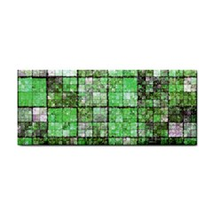 Background Of Green Squares Cosmetic Storage Cases by Nexatart