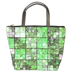 Background Of Green Squares Bucket Bags by Nexatart
