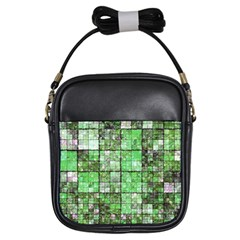 Background Of Green Squares Girls Sling Bags