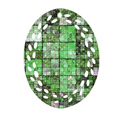Background Of Green Squares Ornament (oval Filigree) by Nexatart