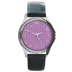 Blue Red Checkered Round Metal Watch by Nexatart