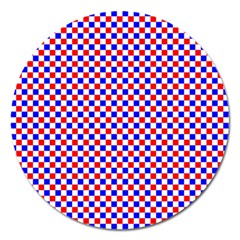 Blue Red Checkered Magnet 5  (round) by Nexatart
