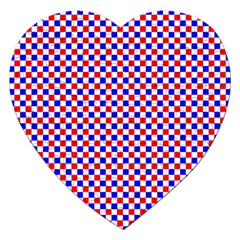 Blue Red Checkered Jigsaw Puzzle (heart) by Nexatart