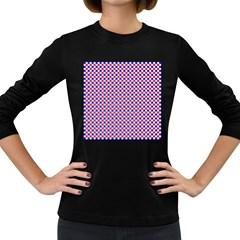 Blue Red Checkered Women s Long Sleeve Dark T Shirts