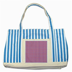 Blue Red Checkered Striped Blue Tote Bag