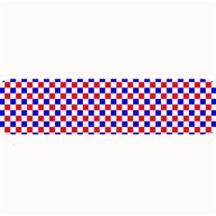 Blue Red Checkered Large Bar Mats by Nexatart