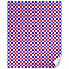 Blue Red Checkered Canvas 11  X 14