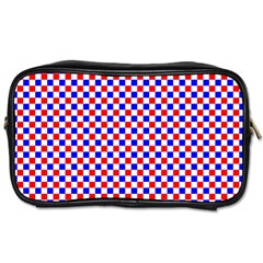 Blue Red Checkered Toiletries Bags 2 Side