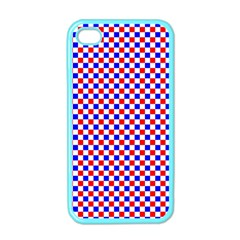 Blue Red Checkered Apple Iphone 4 Case (color) by Nexatart