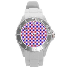 Blue Red Checkered Round Plastic Sport Watch (l)