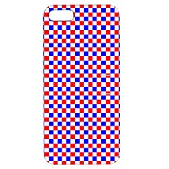 Blue Red Checkered Apple Iphone 5 Hardshell Case With Stand