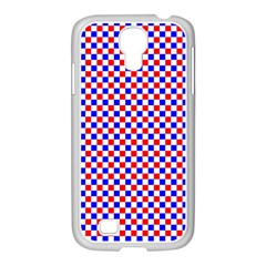 Blue Red Checkered Samsung Galaxy S4 I9500/ I9505 Case (white)