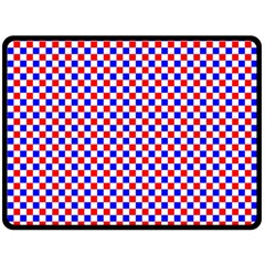 Blue Red Checkered Double Sided Fleece Blanket (large)  by Nexatart