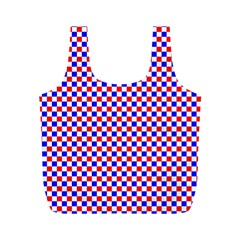 Blue Red Checkered Full Print Recycle Bags (m)