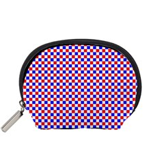 Blue Red Checkered Accessory Pouches (small)  by Nexatart
