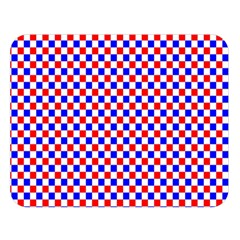 Blue Red Checkered Double Sided Flano Blanket (large)  by Nexatart