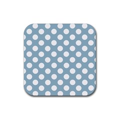 Blue Polkadot Background Rubber Coaster (square)