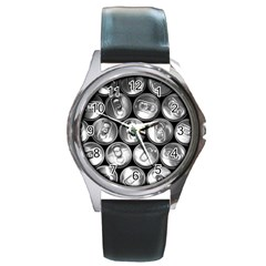 Black And White Doses Cans Fuzzy Drinks Round Metal Watch