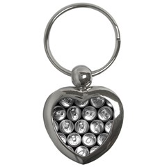 Black And White Doses Cans Fuzzy Drinks Key Chains (heart)  by Nexatart
