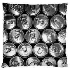 Black And White Doses Cans Fuzzy Drinks Large Flano Cushion Case (one Side) by Nexatart