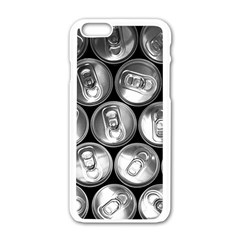 Black And White Doses Cans Fuzzy Drinks Apple Iphone 6/6s White Enamel Case by Nexatart