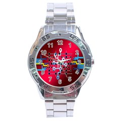 Board Circuits Trace Control Center Stainless Steel Analogue Watch by Nexatart