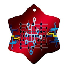 Board Circuits Trace Control Center Snowflake Ornament (two Sides) by Nexatart