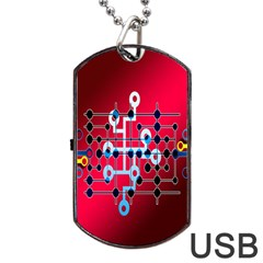 Board Circuits Trace Control Center Dog Tag Usb Flash (one Side) by Nexatart