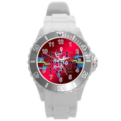 Board Circuits Trace Control Center Round Plastic Sport Watch (l)