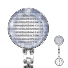 Binary Computer Technology Code Stainless Steel Nurses Watch