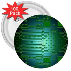 Board Conductors Circuits 3  Buttons (100 Pack)  by Nexatart