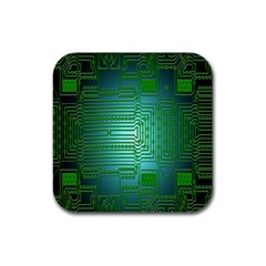 Board Conductors Circuits Rubber Square Coaster (4 Pack)  by Nexatart