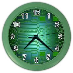 Board Conductors Circuits Color Wall Clocks by Nexatart