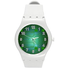 Board Conductors Circuits Round Plastic Sport Watch (m)