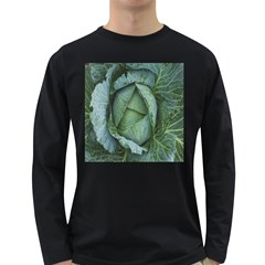 Bright Cabbage Color Dew Flora Long Sleeve Dark T Shirts by Nexatart