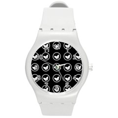 Butterfly Wallpaper Background Round Plastic Sport Watch (m)