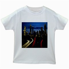 Building And Red And Yellow Light Road Time Lapse Kids White T Shirts