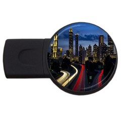 Building And Red And Yellow Light Road Time Lapse Usb Flash Drive Round (2 Gb) by Nexatart
