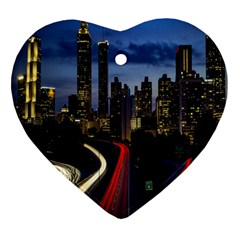 Building And Red And Yellow Light Road Time Lapse Heart Ornament (two Sides) by Nexatart