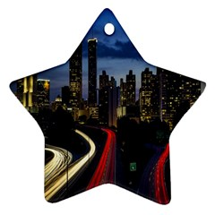 Building And Red And Yellow Light Road Time Lapse Star Ornament (two Sides) by Nexatart