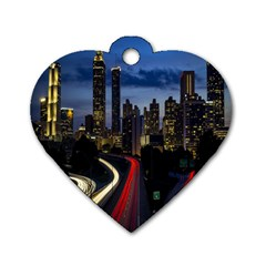 Building And Red And Yellow Light Road Time Lapse Dog Tag Heart (one Side) by Nexatart
